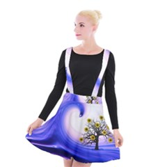 Composing Nature Background Graphic Suspender Skater Skirt