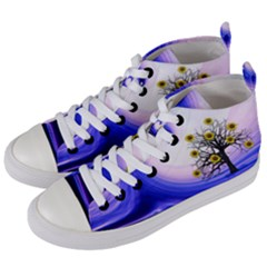 Composing Nature Background Graphic Women s Mid Top Canvas Sneakers by Sapixe