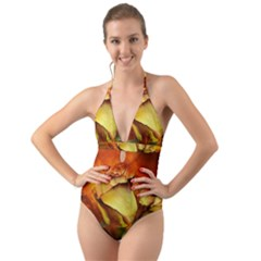 Rose Flower Petal Floral Love Halter Cut Out One Piece Swimsuit by Sapixe