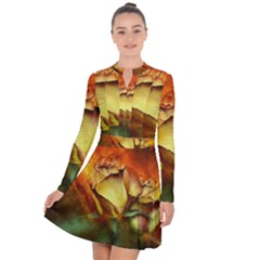 Rose Flower Petal Floral Love Long Sleeve Panel Dress by Sapixe