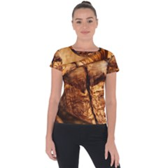 Olive Wood Wood Grain Structure Short Sleeve Sports Top