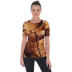 Olive Wood Wood Grain Structure Shoulder Cut Out Short Sleeve Top