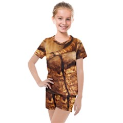 Olive Wood Wood Grain Structure Kids  Mesh Tee And Shorts Set