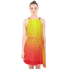 Digital Art Art Artwork Abstract Halter Collar Waist Tie Chiffon Dress