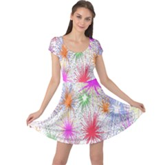 Star Dab Farbkleckse Leaf Flower Cap Sleeve Dress
