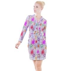 Star Dab Farbkleckse Leaf Flower Button Long Sleeve Dress