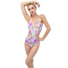 Star Dab Farbkleckse Leaf Flower Plunging Cut Out Swimsuit