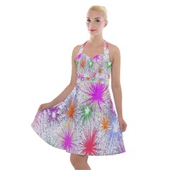 Star Dab Farbkleckse Leaf Flower Halter Party Swing Dress  by Sapixe