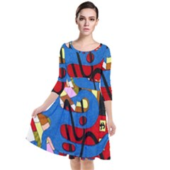 Creativeness Art Illustration Quarter Sleeve Waist Band Dress