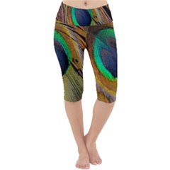 Bird Feather Background Nature Lightweight Velour Cropped Yoga Leggings by Sapixe