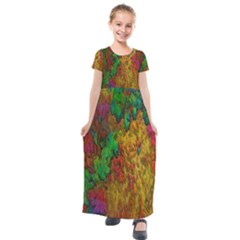 Background Color Template Abstract Kids  Short Sleeve Maxi Dress by Sapixe