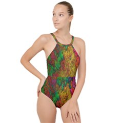 Background Color Template Abstract High Neck One Piece Swimsuit