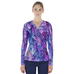 Background Peel Art Abstract V Neck Long Sleeve Top
