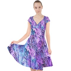 Background Peel Art Abstract Cap Sleeve Front Wrap Midi Dress