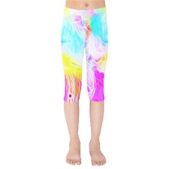 Background Drips Fluid Colorful Kids  Capri Leggings  by Sapixe