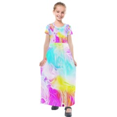 Background Drips Fluid Colorful Kids  Short Sleeve Maxi Dress by Sapixe