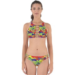 Abstract Art Structure Perfectly Cut Out Bikini Set