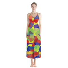 Abstract Art Structure Button Up Chiffon Maxi Dress