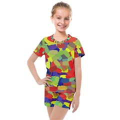 Abstract Art Structure Kids  Mesh Tee And Shorts Set