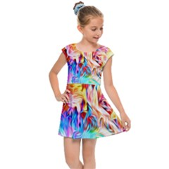 Background Drips Fluid Colorful Kids Cap Sleeve Dress