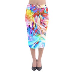 Background Drips Fluid Colorful Velvet Midi Pencil Skirt by Sapixe