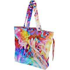 Background Drips Fluid Colorful Drawstring Tote Bag by Sapixe