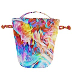 Background Drips Fluid Colorful Drawstring Bucket Bag by Sapixe