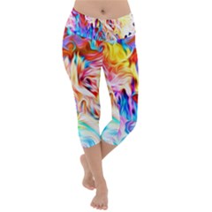 Background Drips Fluid Colorful Lightweight Velour Capri Yoga Leggings by Sapixe