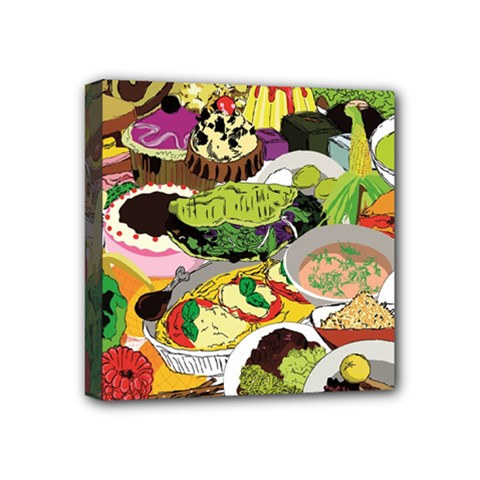Eat Food Background Art Color Mini Canvas 4  X 4  (stretched) by Sapixe