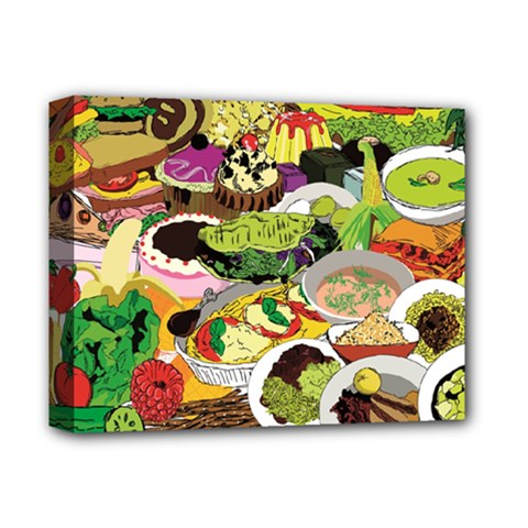 Eat Food Background Art Color Deluxe Canvas 14  X 11  (stretched)