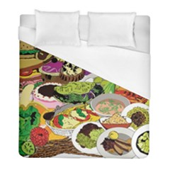 Eat Food Background Art Color Duvet Cover (full/ Double Size) by Sapixe