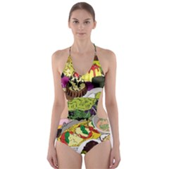 Eat Food Background Art Color Cut Out One Piece Swimsuit
