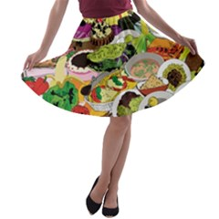Eat Food Background Art Color A-line Skater Skirt by Sapixe