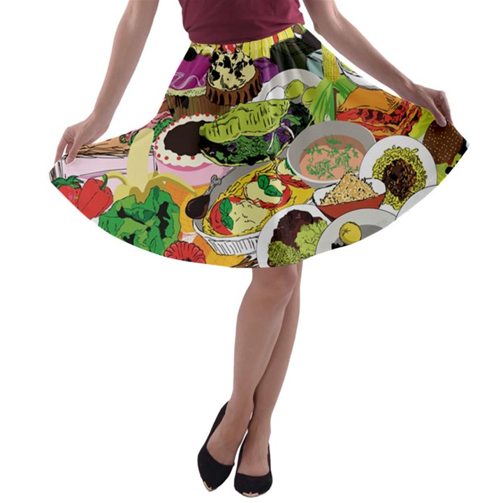 Eat Food Background Art Color A-line Skater Skirt