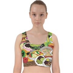 Eat Food Background Art Color Velvet Racer Back Crop Top by Sapixe