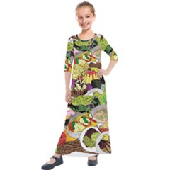 Eat Food Background Art Color Kids  Quarter Sleeve Maxi Dress by Sapixe