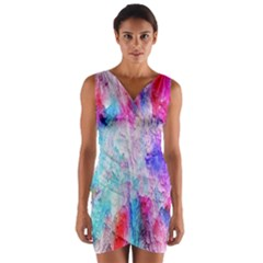 Background Art Abstract Watercolor Wrap Front Bodycon Dress