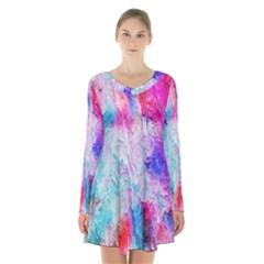 Background Art Abstract Watercolor Long Sleeve Velvet V Neck Dress