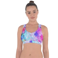 Background Art Abstract Watercolor Cross String Back Sports Bra