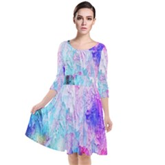 Background Art Abstract Watercolor Quarter Sleeve Waist Band Dress