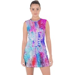 Background Art Abstract Watercolor Lace Up Front Bodycon Dress