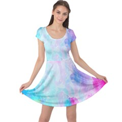Background Drips Fluid Cap Sleeve Dress