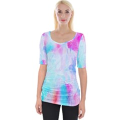 Background Drips Fluid Wide Neckline Tee