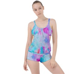 Background Drips Fluid Boyleg Tankini Set