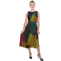 Background Color Template Abstract Midi Tie Back Chiffon Dress