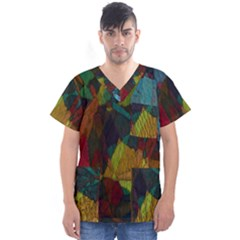 Background Color Template Abstract Men s V Neck Scrub Top