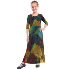 Background Color Template Abstract Kids  Quarter Sleeve Maxi Dress by Sapixe