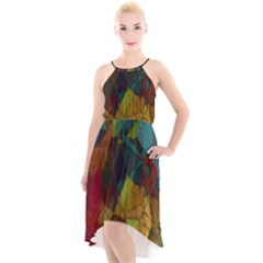 Background Color Template Abstract High Low Halter Chiffon Dress