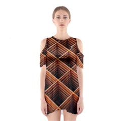 Metal Grid Framework Creates An Abstract Shoulder Cutout One Piece Dress