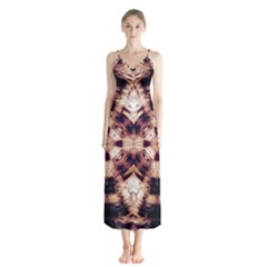 Abstract Art Wallpaper Background Button Up Chiffon Maxi Dress